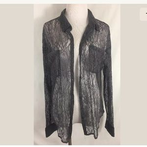 Free People Gray Lace Long Sleeve Button Blouse